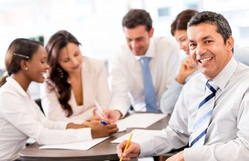 Homem de negócios em reunião